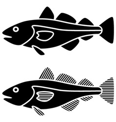 Black cod fish silhouettes vector