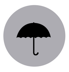 Blue emblem sticker umbrella icon vector