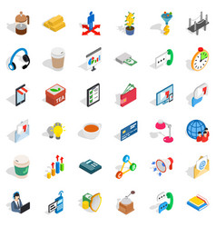 business start icons set isometric style vector image vector image