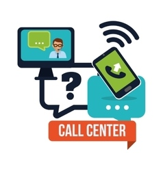 Call center service icons vector