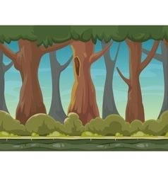 Cartoon seamless forest background for vector image vector image
