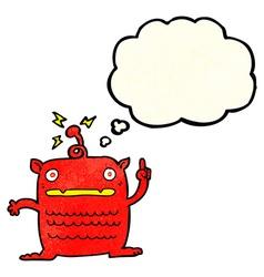Cartoon weird little alien with thought bubble vector