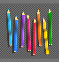 Color pencils on on transparency background vector