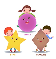 Cute little cartoon kids with basic shapes star vector