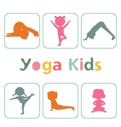 Cute yoga kids silhouettes vector image