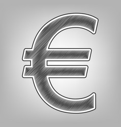 Euro sign pencil sketch imitation dark vector