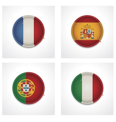 flags of countries as fabric badges vector image