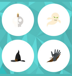 flat icon festival set of ghost witch cap zombie vector image vector image