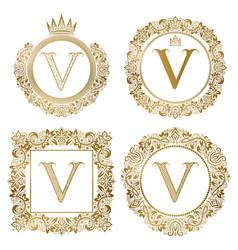 Golden letter v vintage monograms set heraldic vector