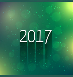 Green bokeh background with 2017 new year text vector