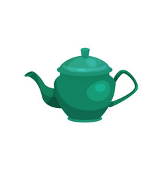 Green ceramic teapot ilustration vector