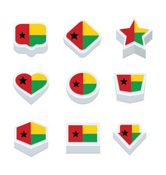 Guinea bissau flags icons and button set nine vector