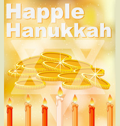 happy hanukkah card template with bright light vector image vector image