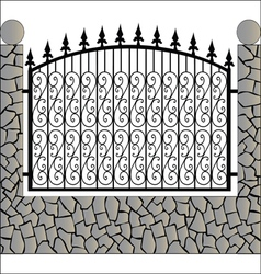 Iron fence with stone vector image