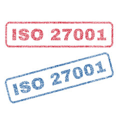 Iso 27001 textile stamps vector