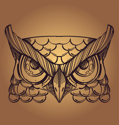 muzzle of an owl for creating sketches of tattoos vector image vector image