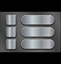 Oval and square brushed metal plates on perforated vector