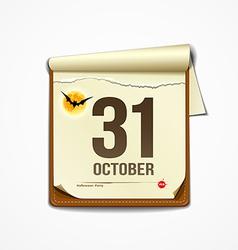 Paper October calender in halloween party vector image vector image