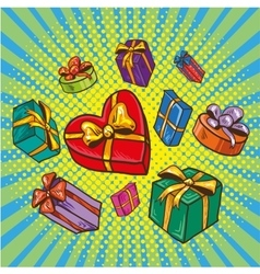 Presents and gifts boxes in vector image
