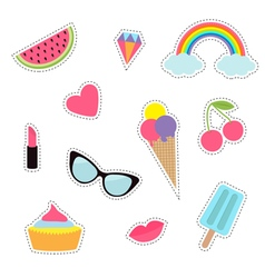 Quirky cartoon sticker patch badge set fashion pin vector