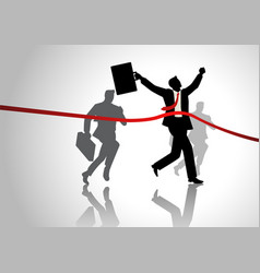 running businessman at finish line vector image