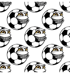 Seamless pattern of a happy soccer ball vector image vector image