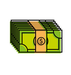 Stacked banknote money dollar investment business vector
