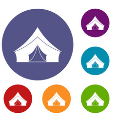 Tent with a triangular roof icons set vector