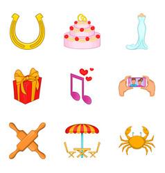 treat icons set cartoon style vector image vector image