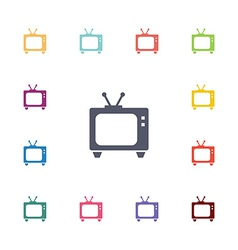 tv flat icons set vector image