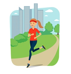 Urban sports Young woman jogging for fitness in vector image
