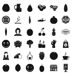 Vegetarian cook icons set simple style vector