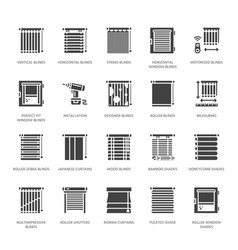 Window blinds shades glyph icons various vector