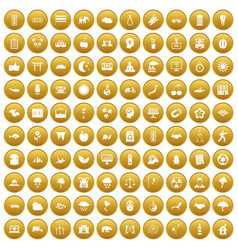 100 harmony icons set gold vector