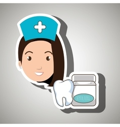 Nurse tooth health mouthwash vector