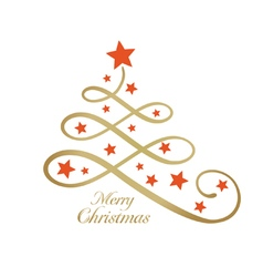 Merry christmas tree stylized line art vector