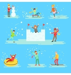 People having fun in snow in winter set of vector