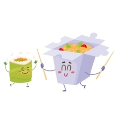 Smiling japanese noodle in paper box and avocado vector