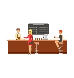 Woman sitting at the counter on bar chair at the vector