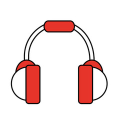 Color silhouette image of headset stereo sound vector