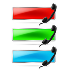 Set of three contact call signs in red green and vector