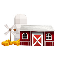 Silo and barn painted in red color vector
