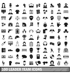 100 leader team icons set simple style vector