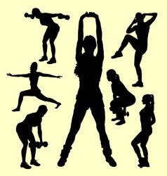 Training female sport silhouette vector