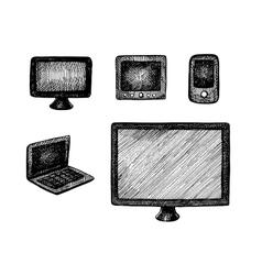Hand drawn computer technics vector image