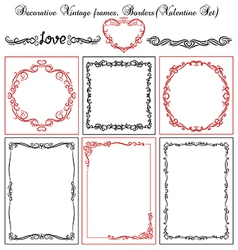 Set of valentine vintage borders vector
