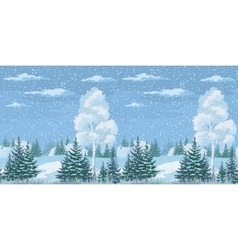 Seamless christmas winter forest landscape vector