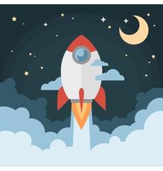 Cartoon modern flat rocket launch flying in space vector image