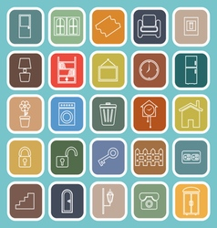 House related line flat icons on blue background vector