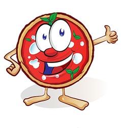 fun pizza cartoon with thumb up vector image